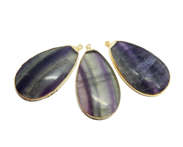Large Rainbow Fluorite Teardrop Pendant with Electroplated 24k Gold Edge
