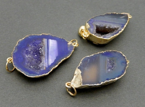 Druzy Agate Slice Double Bail Pendant Connector -- Purple Agate with Electroplated 24k Gold Edge And Bails DSA