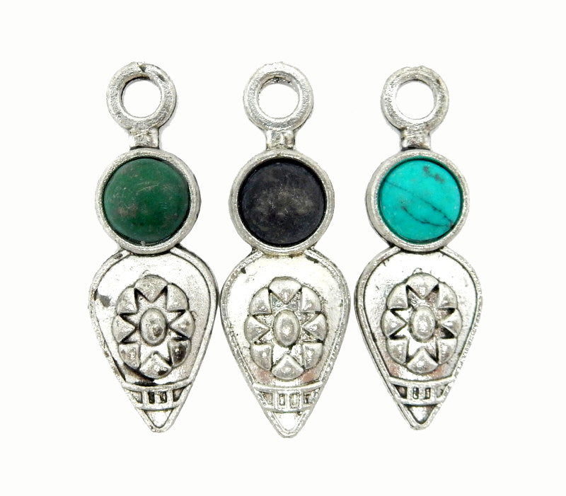 Tibetan-Style Teardrop Pendant with Malachite Accent Silver Toned Brass Bail
