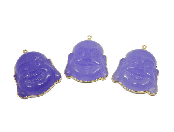 Purple Quartzite Buddah Head Pendant with Electroplated 24k Gold Edge