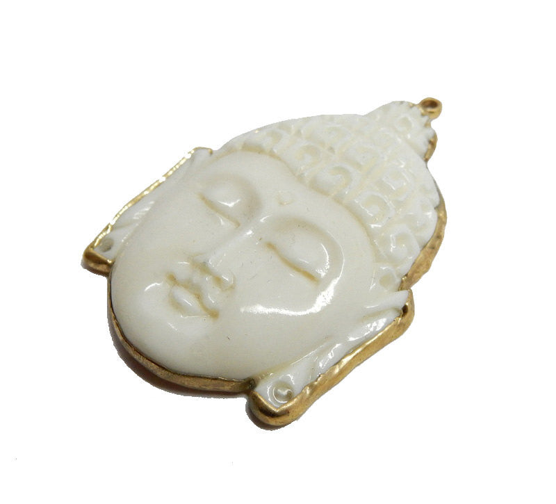 White Bone Carved Buddah Head Pendant with Electroplated 24k Gold Edge