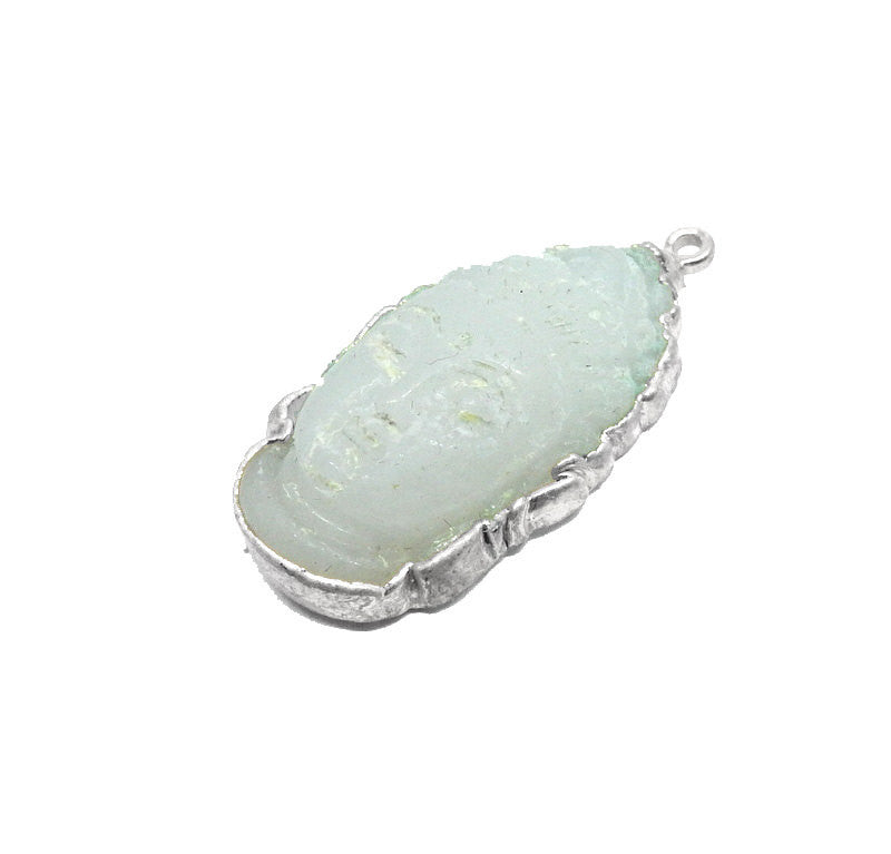 White Jade Buddah Head Pendant with Electroplated Silver Edge (S95B17-15)
