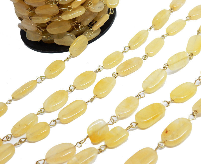 Citrine Quartz Freeform Nugget Chain -- Antique Gold Toned Wire Wrapped Glass Beaded Chain