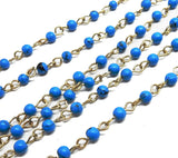 Blue Colored Round Chain -- Antique Gold Toned Wire Wrapped Glass Beaded Chain