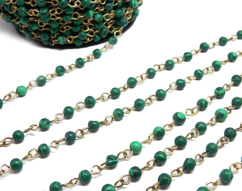 Malachite Colored Round Chain -- Antique Gold Toned Wire Wrapped Glass Beaded Chain
