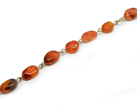 Carnelian Freeform Nugget Chain -- Antique Gold Toned Wire Wrapped Glass Beaded Chain