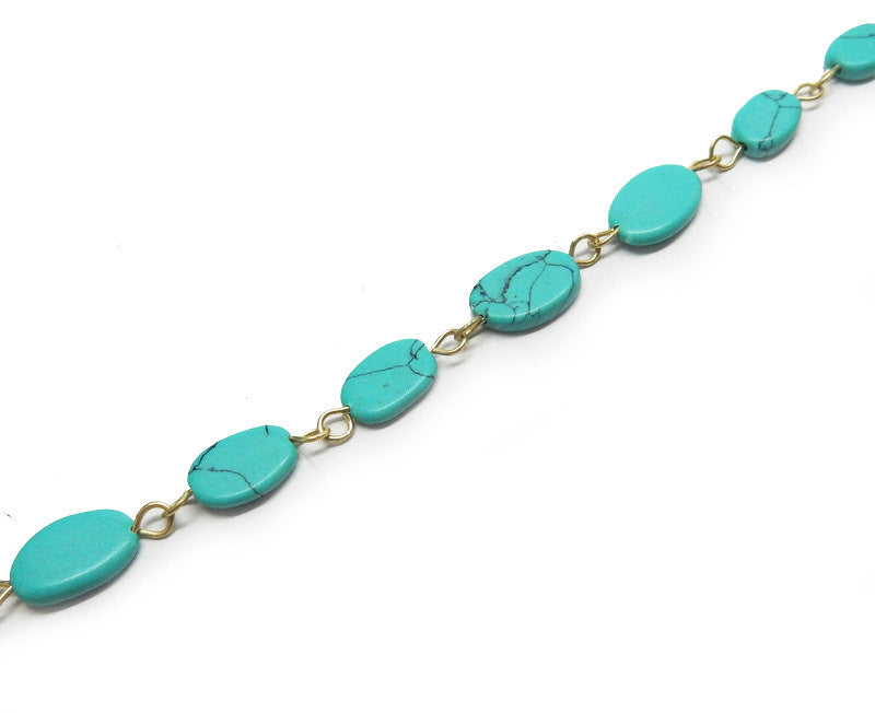 Turquoise Howlite Freeform Nugget Chain -- Antique Gold Toned Wire Wrapped Glass Beaded Chain