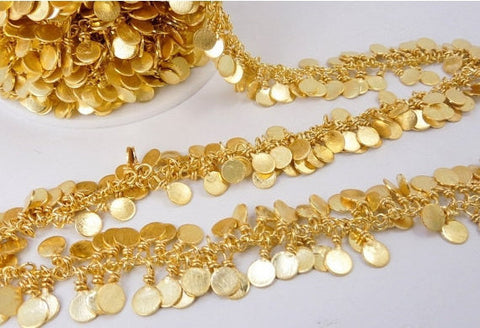 Gold Dangling Coin Chain-- Gold Plated Dangling Coin Charms on Gold Plated Links Chain PER FOOT (CHN-339)