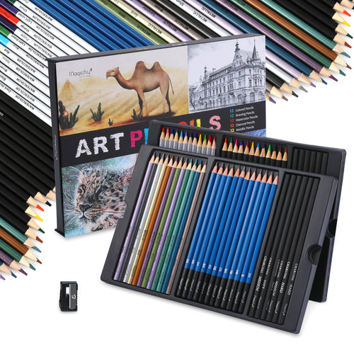 Art Pencils Set-60 Assorted Pencils, for Sketching Drawing - Magicfly