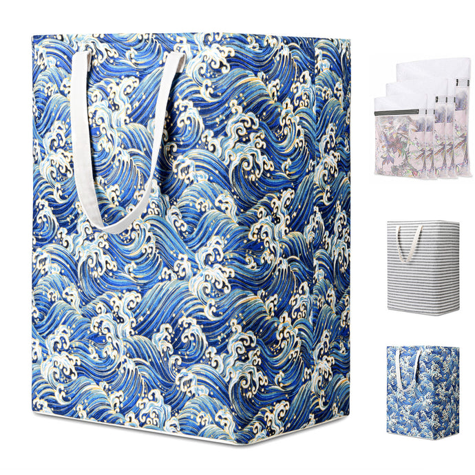 Waterproof Laundry Hamper with 5 Laundry Bags, 75L Self-Standing, Foldable Pest-Proof Tall Laundry Basket Bags with Extended Handle Extra Large - Magicfly