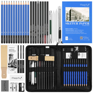 Charcoal Drawing Set-41 Pcs, W/Sketch Book, Kit Bag, Tools, Erasers - Magicfly