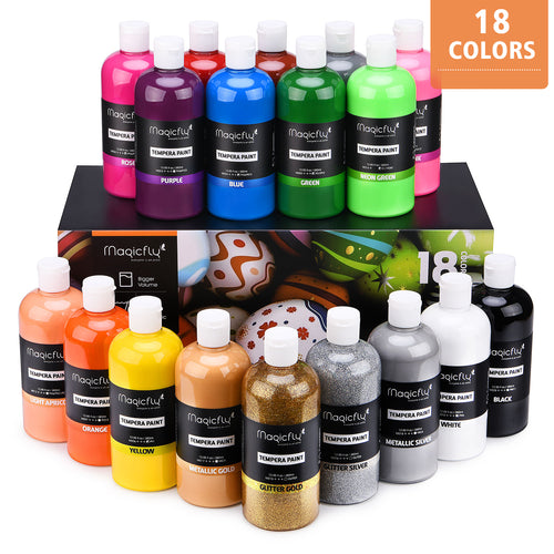 18 Colors Large Volume Tempera Paint Set, Glitter & Glow (Basic, Neon, Glitter, Metallic Colors) - Magicfly