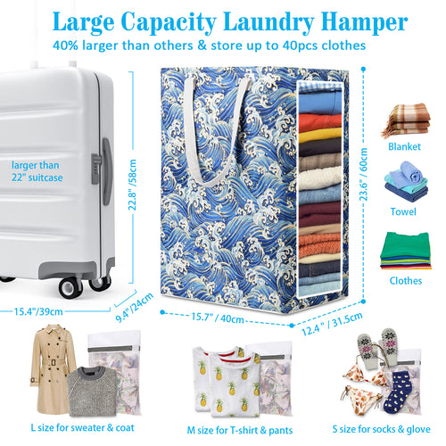 Waterproof Laundry Hamper with 5 Laundry Bags, 75L Self-Standing, Foldable Pest-Proof Tall Laundry Basket Bags with Extended Handle Extra Large