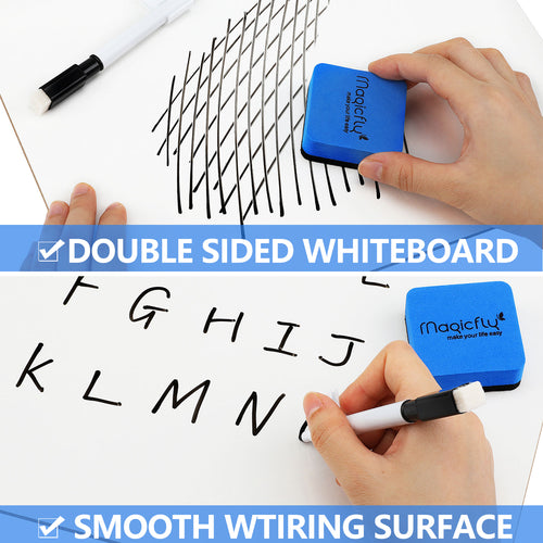 Double-Sided Small White Board, 9 x 12 Inches Dry Erase Lap Boards, Bulk Pack of 16 Mini White Board with 16 Pens, 16 Erasers & 16 Pen Clips