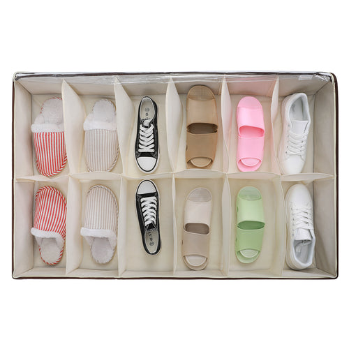 Magicfly Under Bed Shoes Organizer Built-in Structure,12 Divided Slots - Magicfly