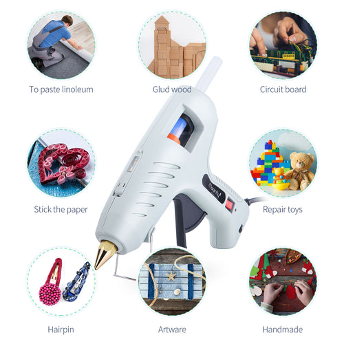 Magicfly 60/100W Hot Glue Gun for Full Size with LED Light and 15 Pcs Full Size Hot Glue Sticks (0.43 X 7.8 inch) - Magicfly