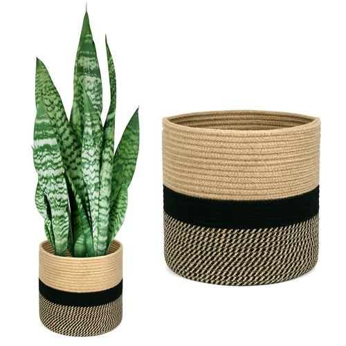 Jute Rope Plant Basket-12 Inch for 11 Inch Plant, Black & Beige - Magicfly