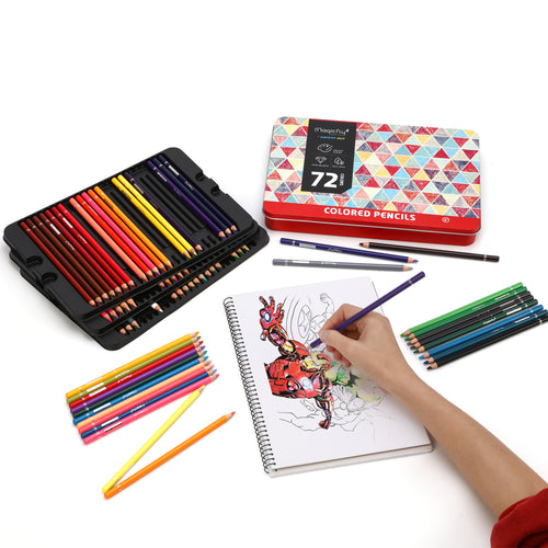 Colored Pencils Set-72 Colors, Soft Oil Based Cores - Magicfly
