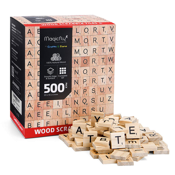 Wooden Scrabble Tiles- 500Pcs, A-Z alphabet