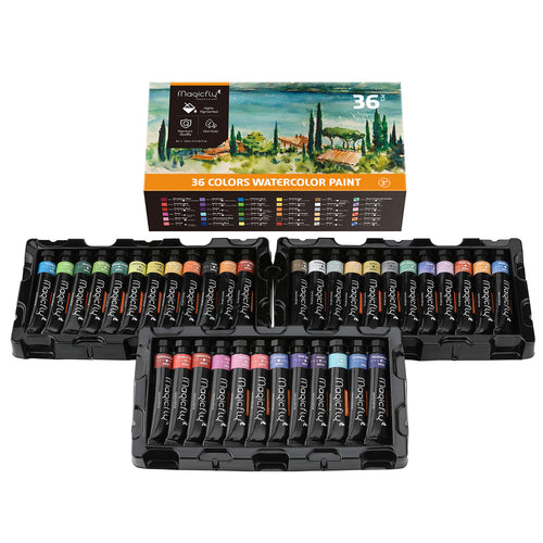 Watercolor Paint Tube, 36 Colors Water Color Paints Set, with Storage Box - Magicfly