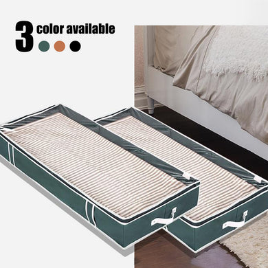 Under Bed Storage Bags, Linen Cloth, Black / Ginger / Dark Green - Pack of 2 - Magicfly