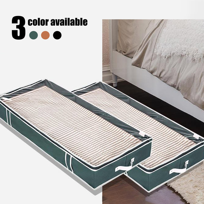 Under Bed Storage Bags, Linen Cloth, Black / Ginger / Dark Green - Pack of 2