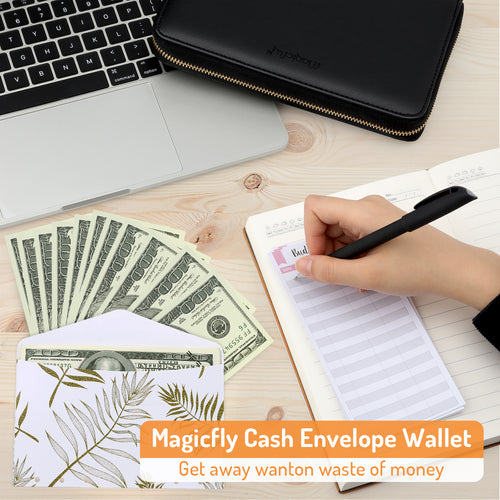 Waterproof & Lightweight Cash Envelope Wallet, All-in-One Budget System Wallet with 12 Budget Envelopes& Budget Sheets & Labels