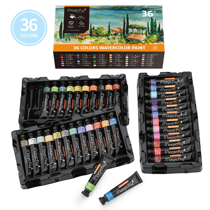 Watercolor Paint Tube, 36 Colors Water Color Paints Set, with Storage Box