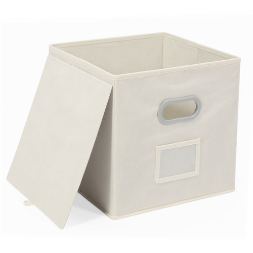 Foldable Fabric Storage Bin-with Label Holders, 12 inch, Set of 6 - Magicfly