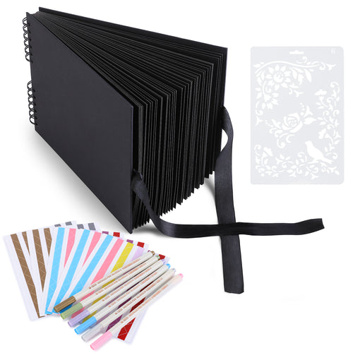 Black Scrapbook Photo Album, 80 Black Pages DIY Craft Scrapbook Kit with Accessories