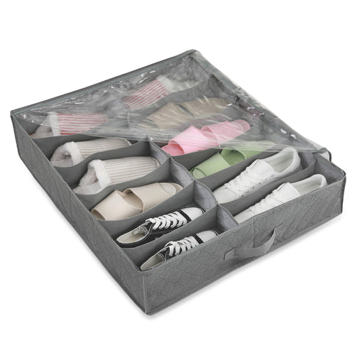 Under Bed Shoes Storage Bag-W/12 Sections, Grey - Magicfly