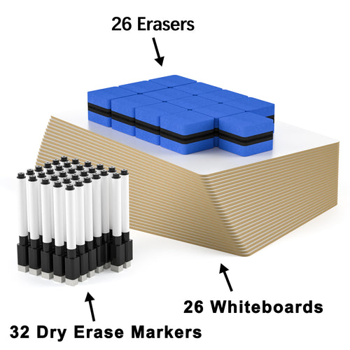 Double-Sided Small White Board, 9 x 12 Inches Dry Erase Lap Boards, Bulk Pack of 16 Mini White Board with 16 Pens, 16 Erasers & 16 Pen Clips - Magicfly