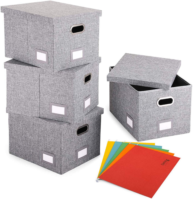 Collapsible File Box-Pack of 4, W/5 Hanging File Folders, Grey - Magicfly