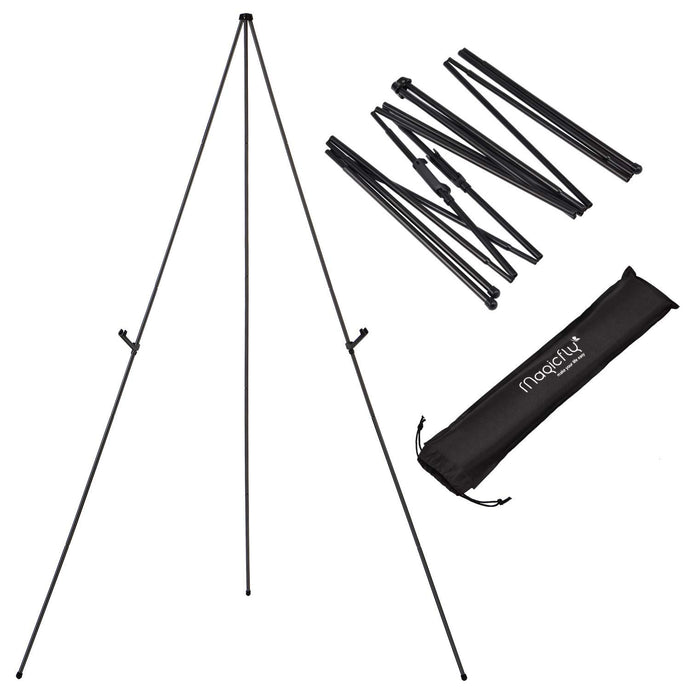 Aluminum Foldable Display Easel, 63 Inch, Telescoping, Black - Magicfly