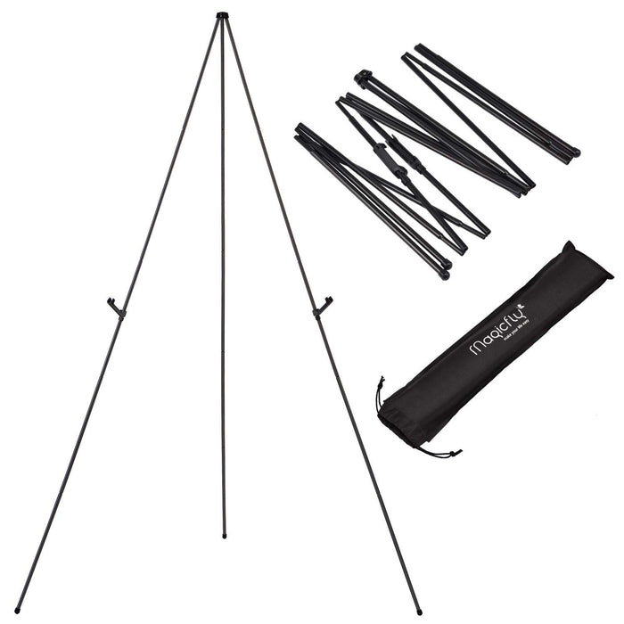 Aluminum Foldable Display Easel, 63 Inch, Telescoping, Black