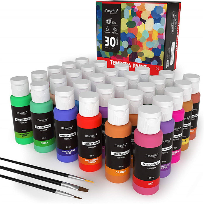 Premium Kids Washable Tempera Paint, Glitter & Glow- Set of 30