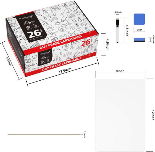 Dry Erase Lapboards Set - W/ 32 Pens, 26 Erasers, 9 x 12 Inches Portable Whiteboard - Magicfly