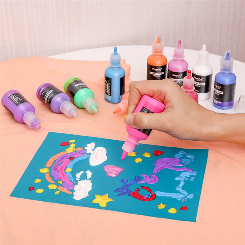 3D Fluorescent  Fabric Paint, , Metallic, Glitter & Glow in the Dark-40 Colors, W/3 Brushes and Stencils - Magicfly
