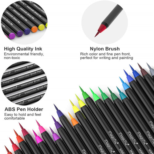 Water Brush Pen Kit-48 Colors + 1 Refillable Watercolor Pens - Magicfly