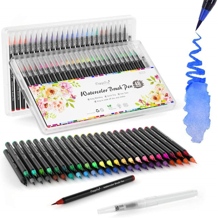 Water Brush Pen Kit-48 Colors + 1 Refillable Watercolor Pens
