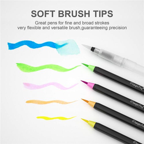 Water Brush Pen Set-48 Colors, W/1 Refillable Watercolor Pens - Magicfly
