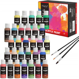 Magicfly 30 Colors Non-Toxic Craft Paints with 3 Brushes Acrylic Paint Set (2fl oz/60ml Each) - Magicfly