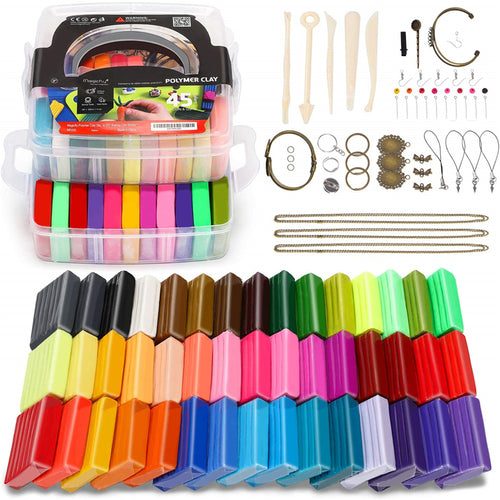 Polymer Clay Starter Kit-45 Colors W/Tools Jewelry Accessories - Magicfly