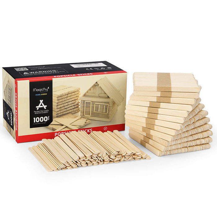 Wooden Popsicle Sticks-1000Pcs, Food Grade Craft Sticks, 4-1/2 Inch