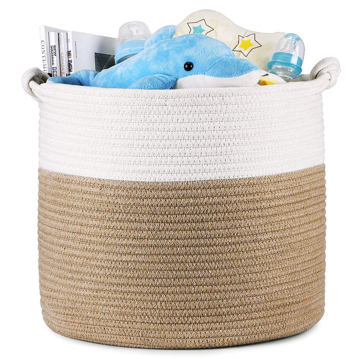 Cotton Rope Baskets-15 X 15 X 14 Inch, Beige & White