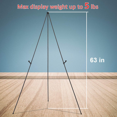 Aluminum Foldable Display Easel, 63 Inch, Telescoping, Black - Pack of 2 - Magicfly
