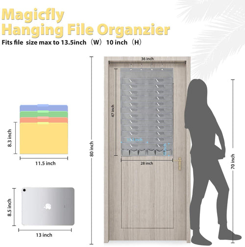 Hanging Wall File Organizer-24 Pockets, W/6 Tool Pockets, Black/Gray - Magicfly