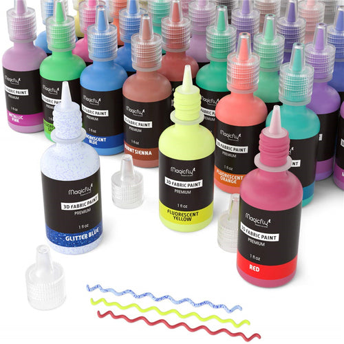 Puffy Paints-40 Colors, W/3 Brushes and Stencils - Magicfly
