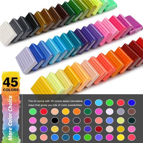 Sculpey polymer clay Starter Kit, W/Tools Jewelry Accessories - 45 Colors - Magicfly