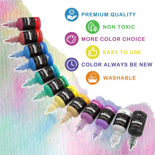 3D Fabric Paint, Fluorescent, Metallic, Glitter & Glow in the Dark-40 Colors, W/3 Brushes and Stencils - Magicfly